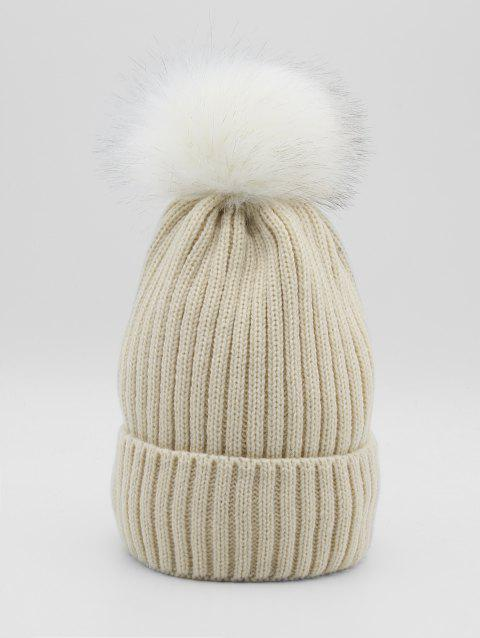 Winter Fuzzy Ball Decoration Knitted Hat - BEIGE