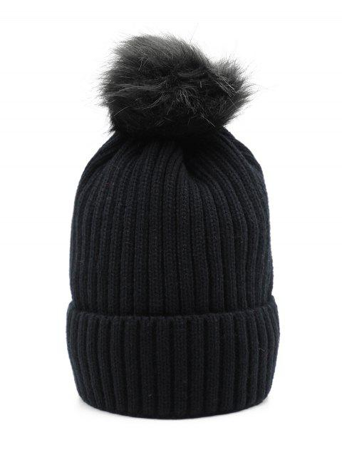 Winter Fuzzy Ball Decoration Knitted Hat - BLACK