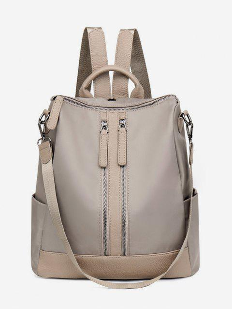 Zipper Backpack with PU Panel - TAN