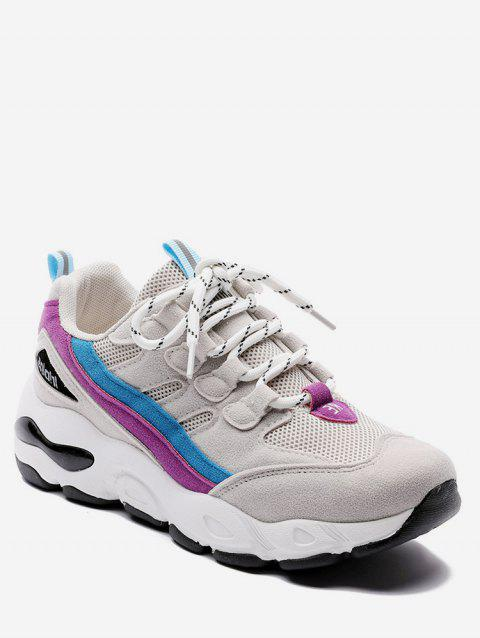 Color Block Mesh Trim Platform Sneakers - PALE VIOLET RED EU 40