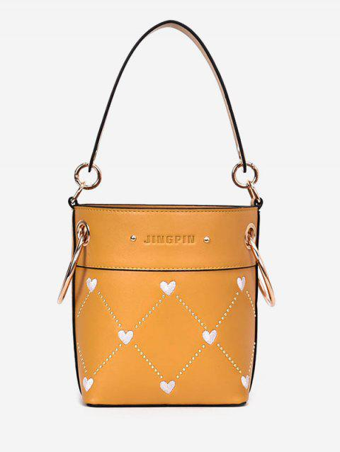 Rivet Diamond Pattern Heart String Shoulder Bag - YELLOW