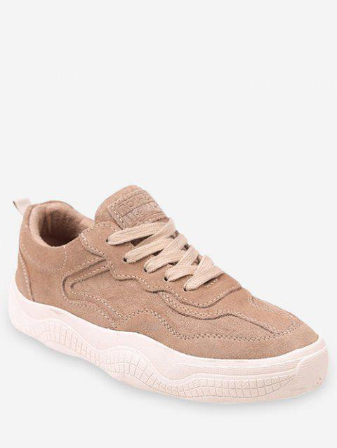 Fur Lined Lacing Casual Sneakers - LIGHT KHAKI EU 36