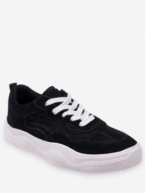 Fur Lined Lacing Casual Sneakers - BLACK EU 36