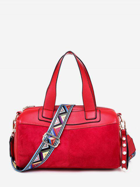 Contrast Pillow Style Crossbody Bag - RED