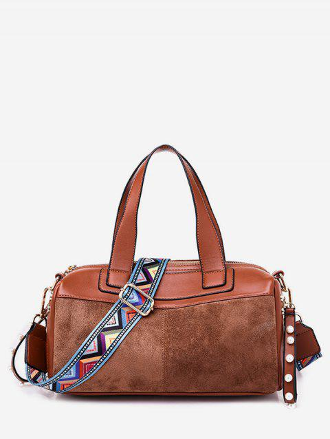 Contrast Pillow Style Crossbody Bag - CAMEL BROWN
