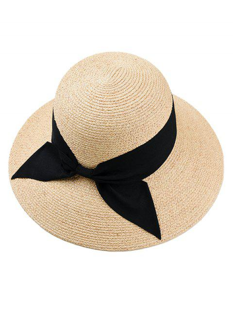 Bowknot Decoration Knitted Straw Hat - BEIGE
