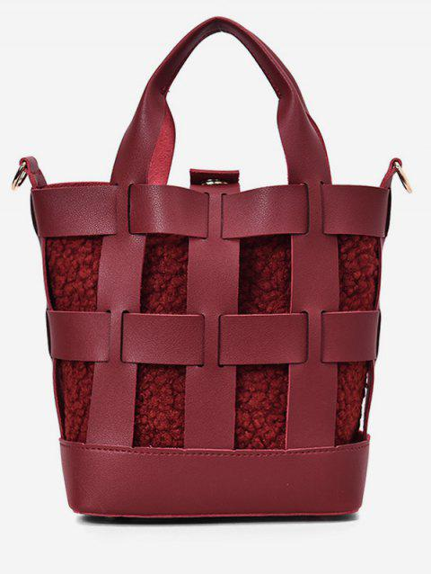 Hollow PU Bucket Handbag With Fluffy Inside - RED WINE