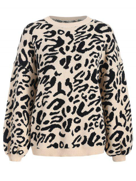 Puff Sleeve Leopard Jacquard Sweater - LEOPARD ONE SIZE