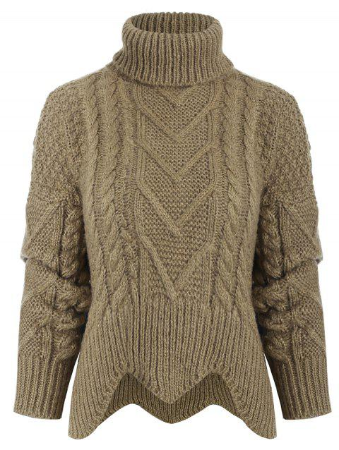 f1e3a2e5607 17% OFF  2019 Turtleneck Cable Knit Sweater In LIGHT BROWN