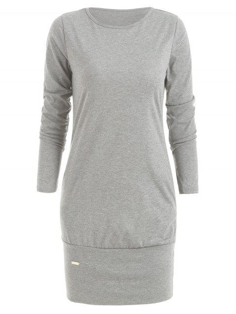 Long Sleeve Casual Dress - LIGHT GRAY M