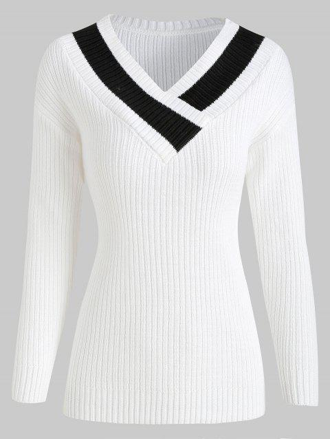Drop Shoulder Contrast Ribbed Sweater - WHITE M