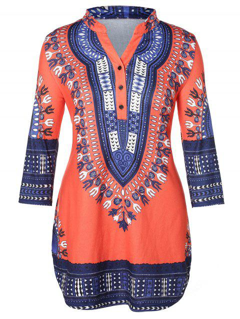 Plus Size Tribal Print Curved T-shirt - multicolor 3X