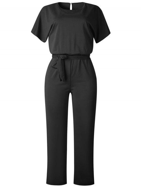 Short Sleeve Belted Hollow Out Jumpsuit - BLACK M