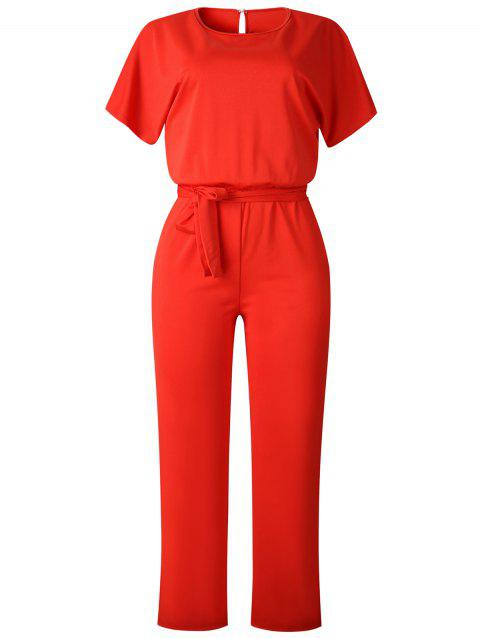 Short Sleeve Belted Hollow Out Jumpsuit - RED L