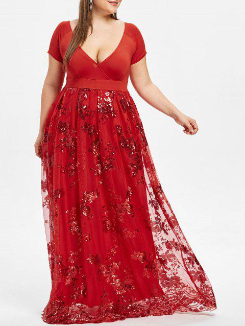 Plus Size Sequined Floral Maxi Formal Dress - RED WINE 5XL