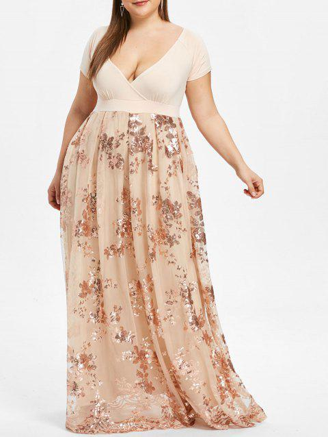 Plus Size Sequined Floral Maxi Formal Dress - BLANCHED ALMOND 5XL