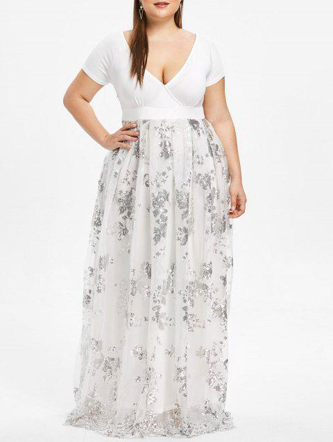 Plus Size Sequined Floral Maxi Formal Dress - WHITE 2XL