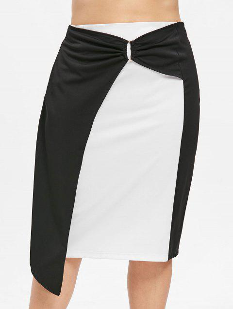 Plus Size Color Block O Ring Bodycon Skirt - BLACK 3X