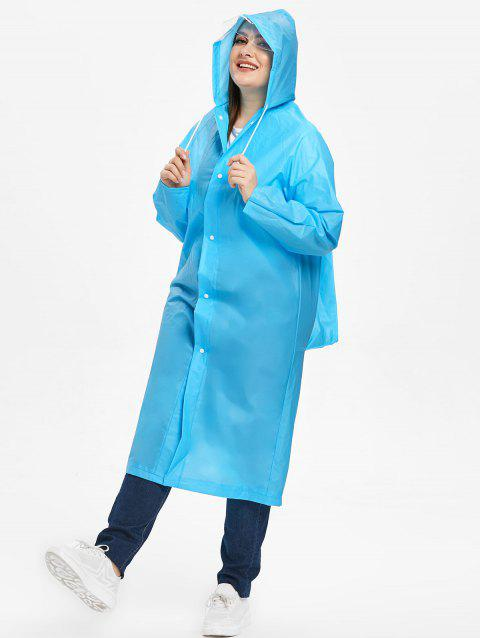 Plus Size Hooded Waterproof Raincoat - BLUE ONE SIZE