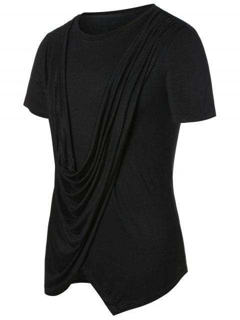 Solid Round Neck Cowl Front Top - BLACK XL