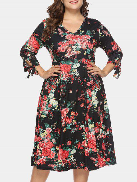 829558af7ff LIMITED OFFER  2019 Plus Size Floral Print Tied Sleeve A Line Dress ...