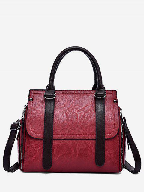 PU Leather Zip Tote Bag With Strap - RED