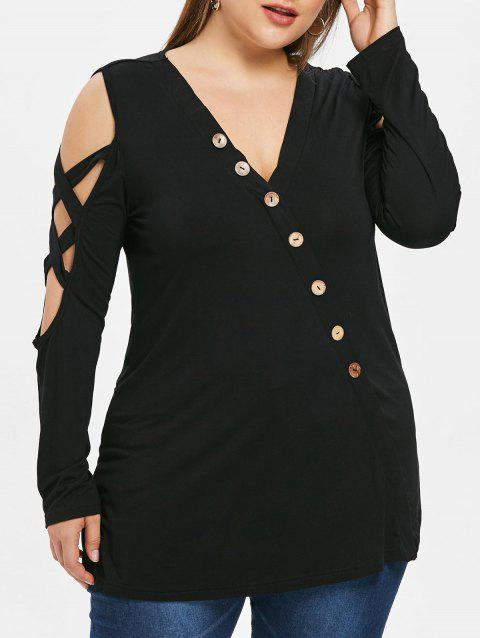 Plus Size Open Shoulder Buttons Criss Cross T-shirt - BLACK 4X