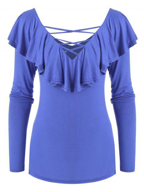 Solid Cut Out Ruffle Top - BLUE L