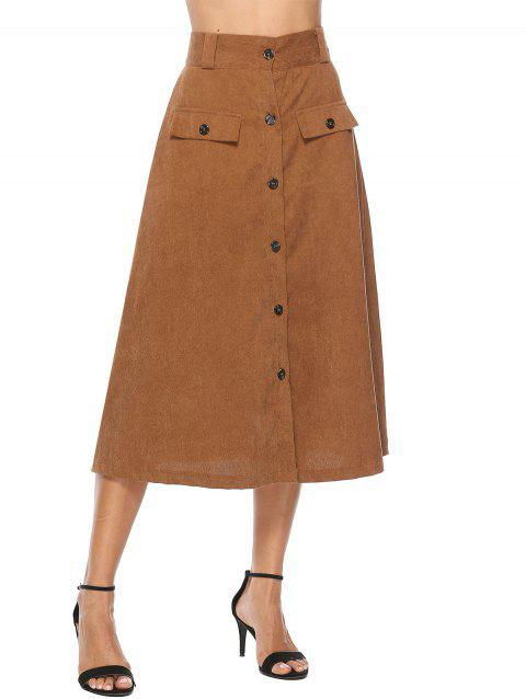 Corduroy Button Up A Line Skirt - BROWN M