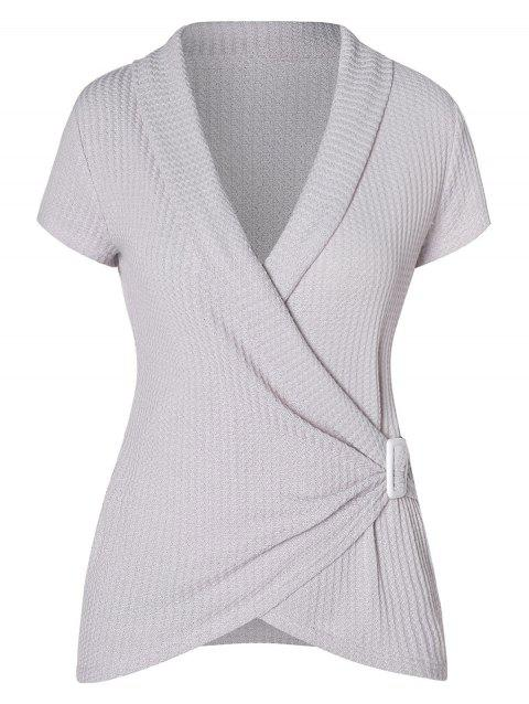Shawl Neck Asymmetrical Knitwear Top - LIGHT GRAY M