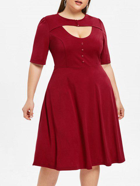 Round Neck Plus Size Cut Out Fit and Flare Dress