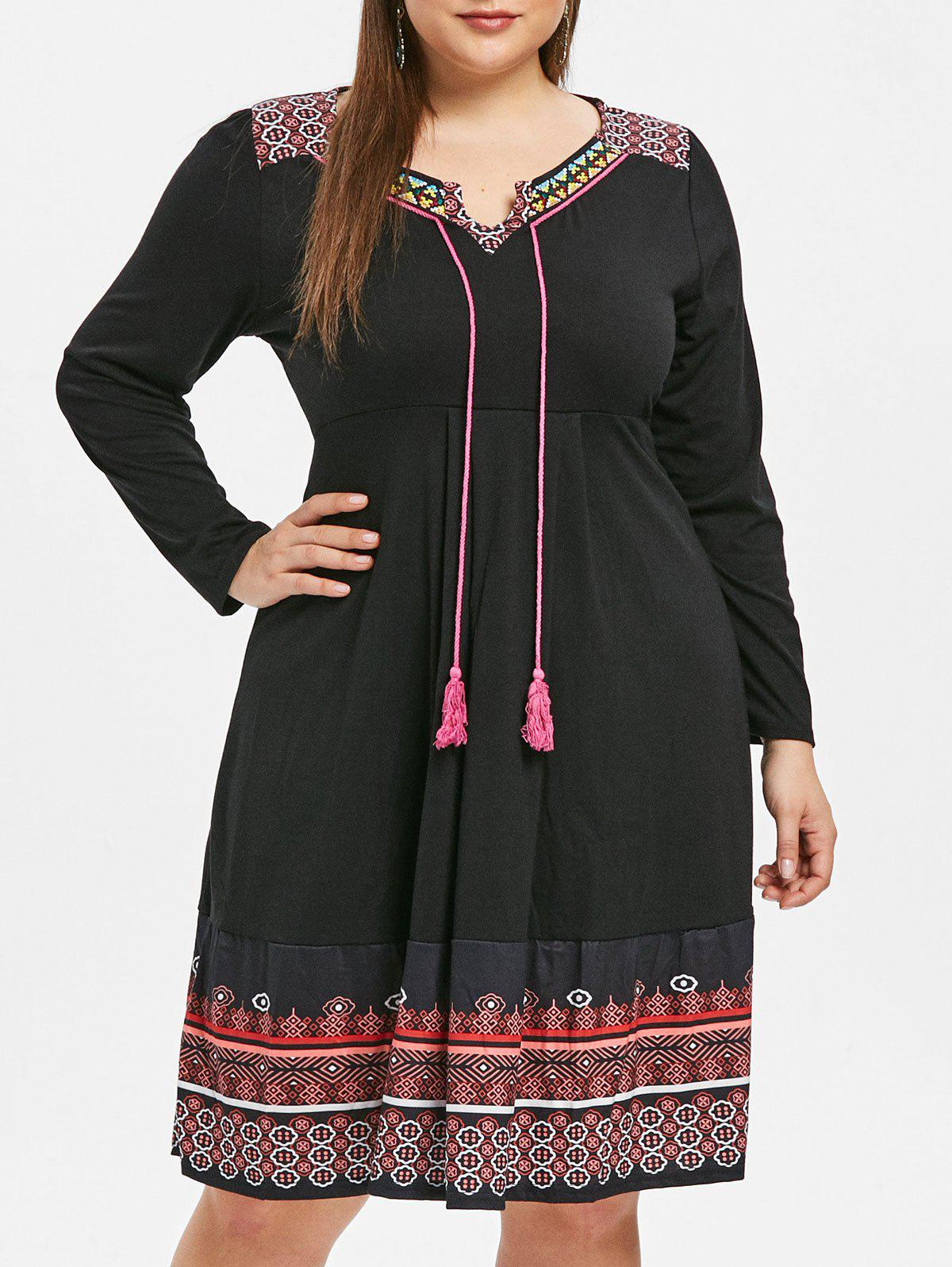 Plus Size Tassel Drawstring Ethnic Print Shift Dress, Black