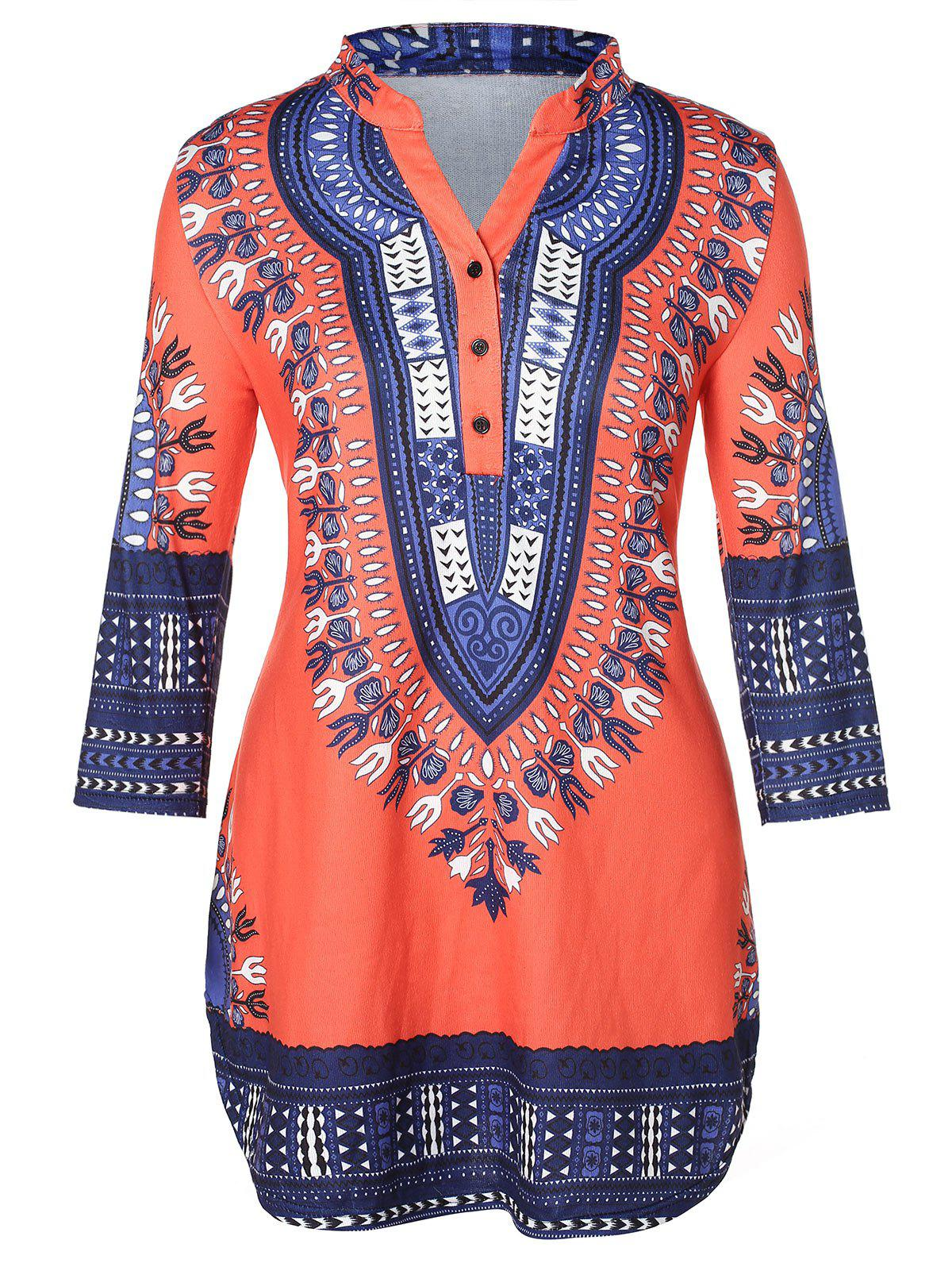 Plus Size Tribal Print Curved T-shirt - multicolor L
