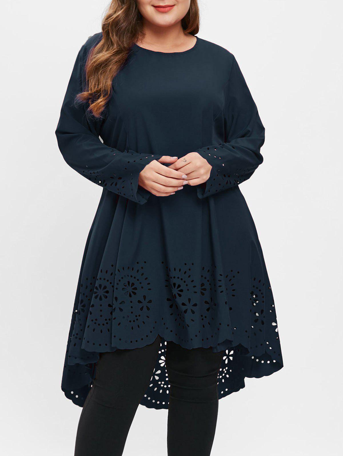 Plus Size Laser Cut High Low Dress - DARK SLATE BLUE 2X