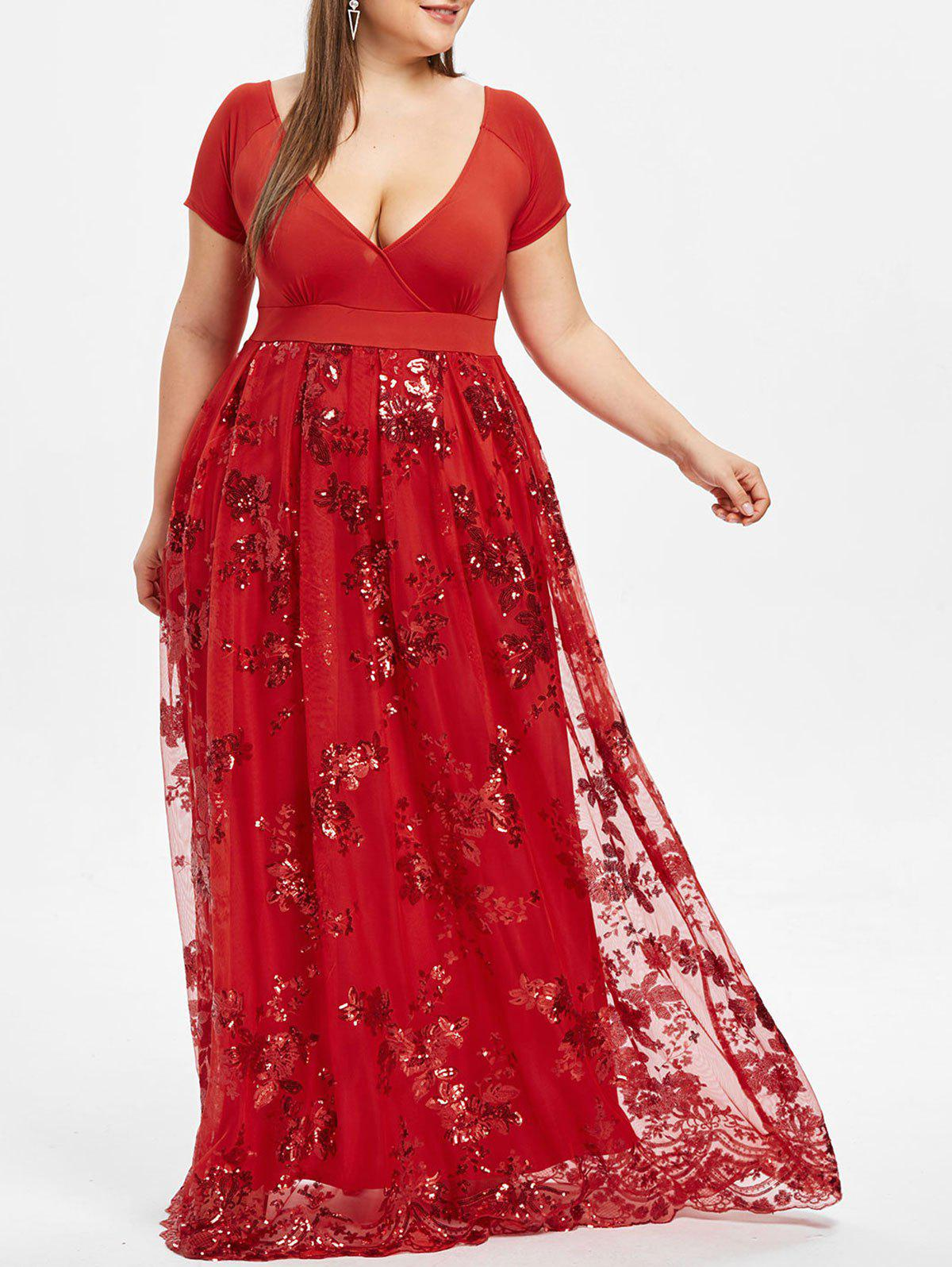 Plus Size Sparkly Sequined Floral Maxi Formal Dress - RED WINE 4XL