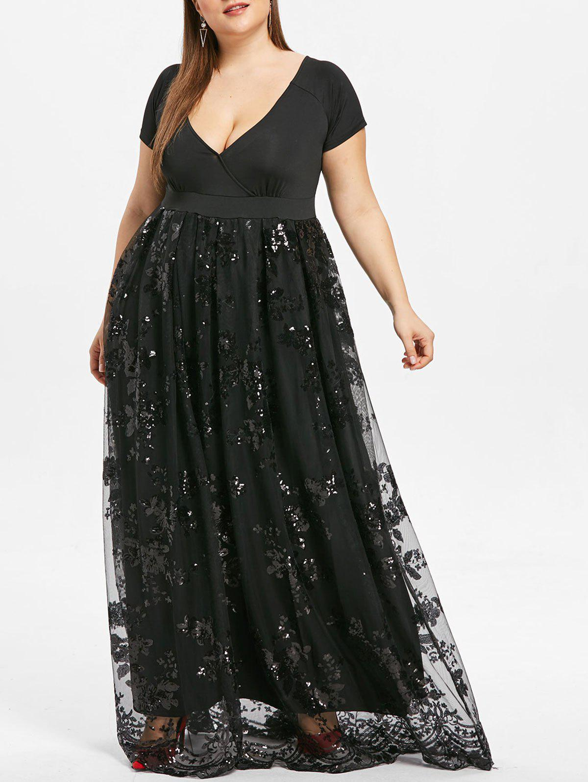 Plus Size Sparkly Sequined Floral Maxi Formal Dress - BLACK XL