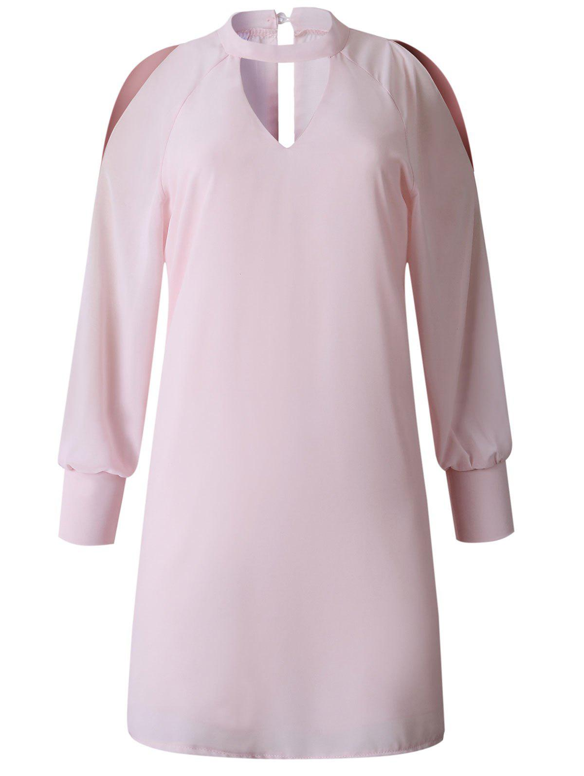 Keyhole Split Sleeve Mini Straight Dress - PINK L