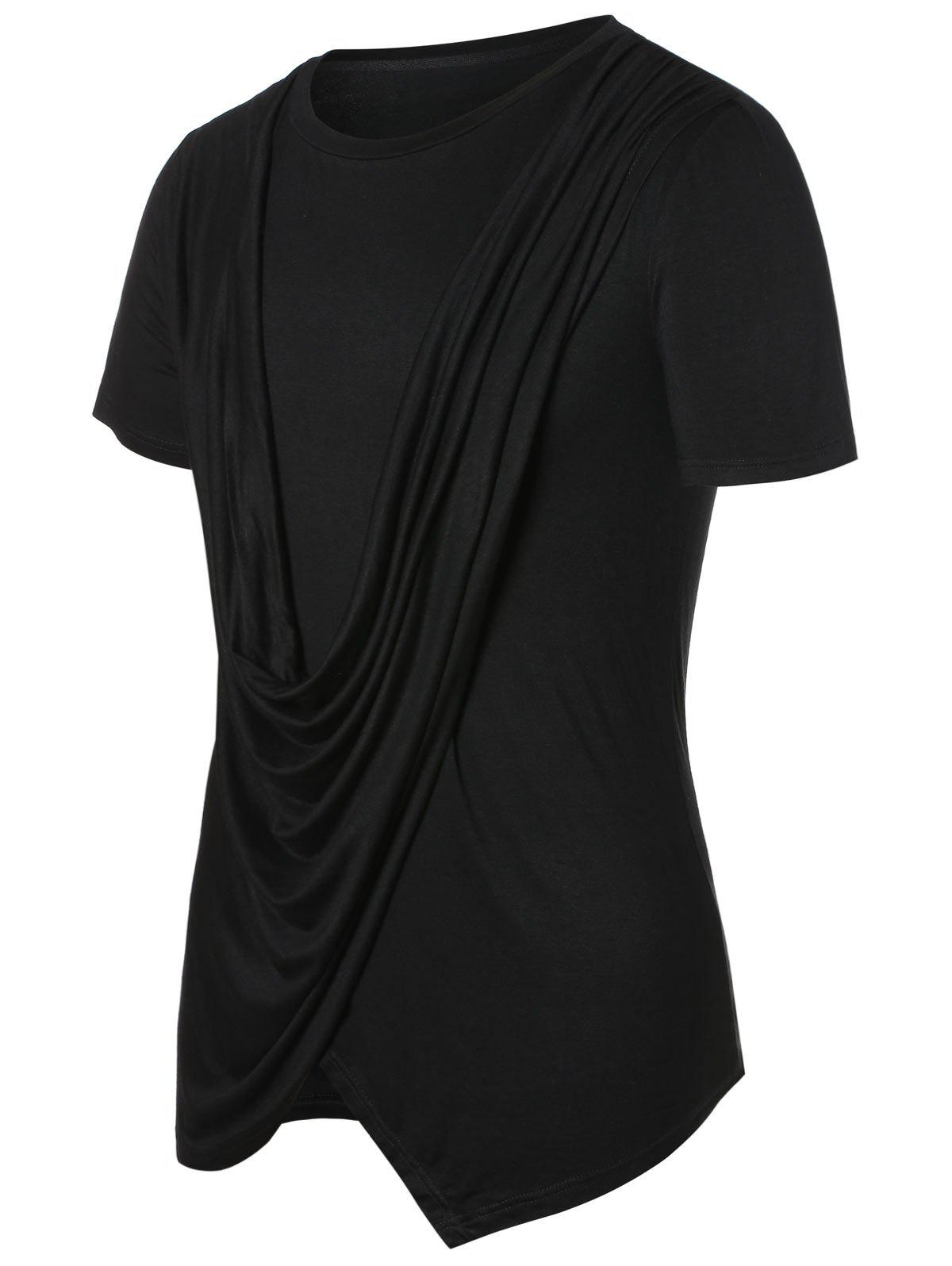 Solid Round Neck Cowl Front Top - BLACK L