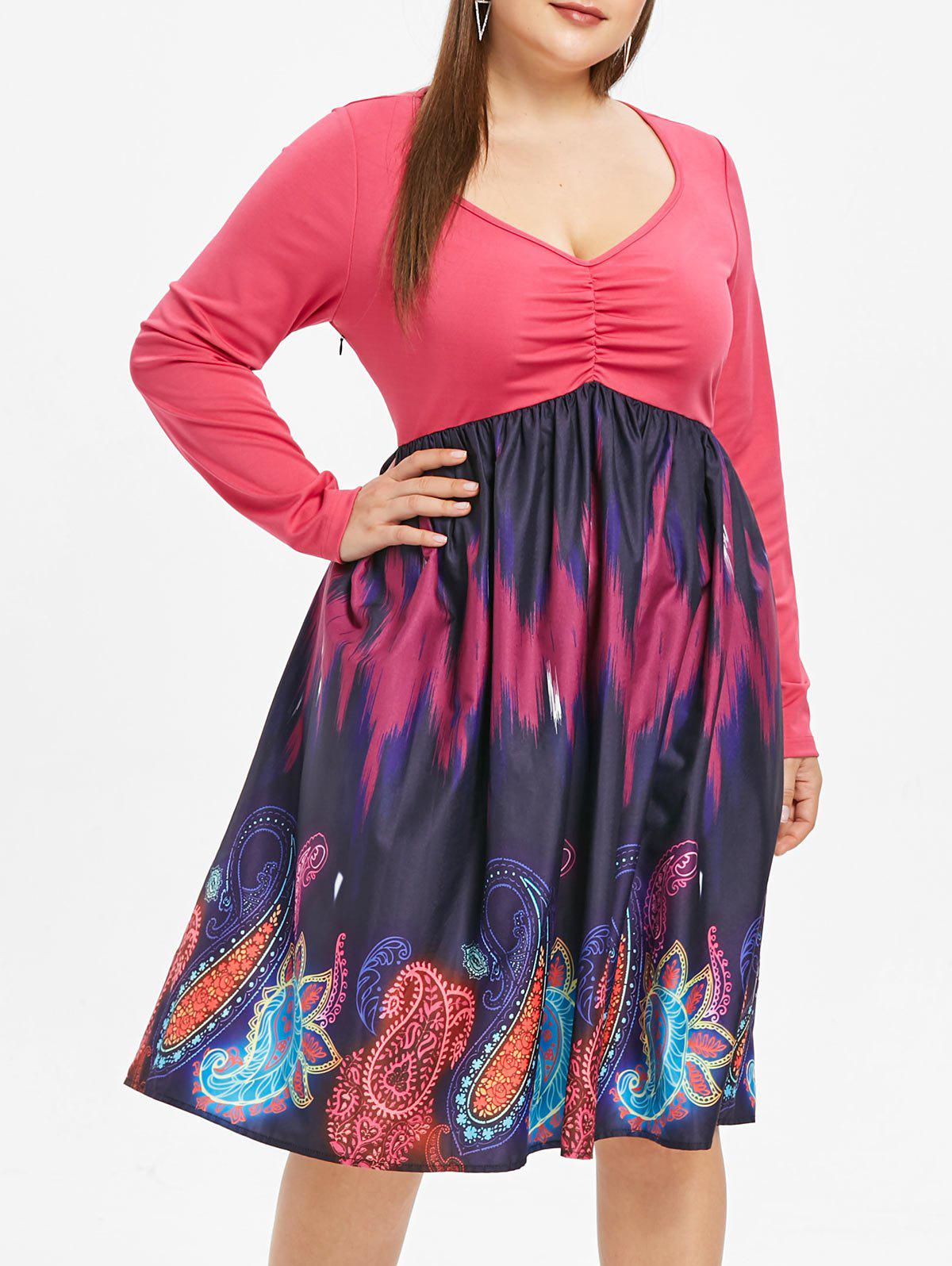 Plus Size Plunge Paisley Print A Line Dress