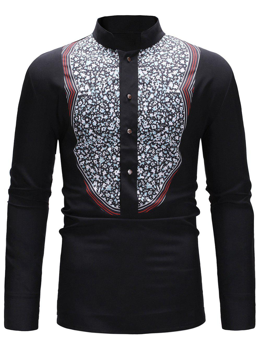 Image of Floral Splicing Buttoned Stand Collar Shirt