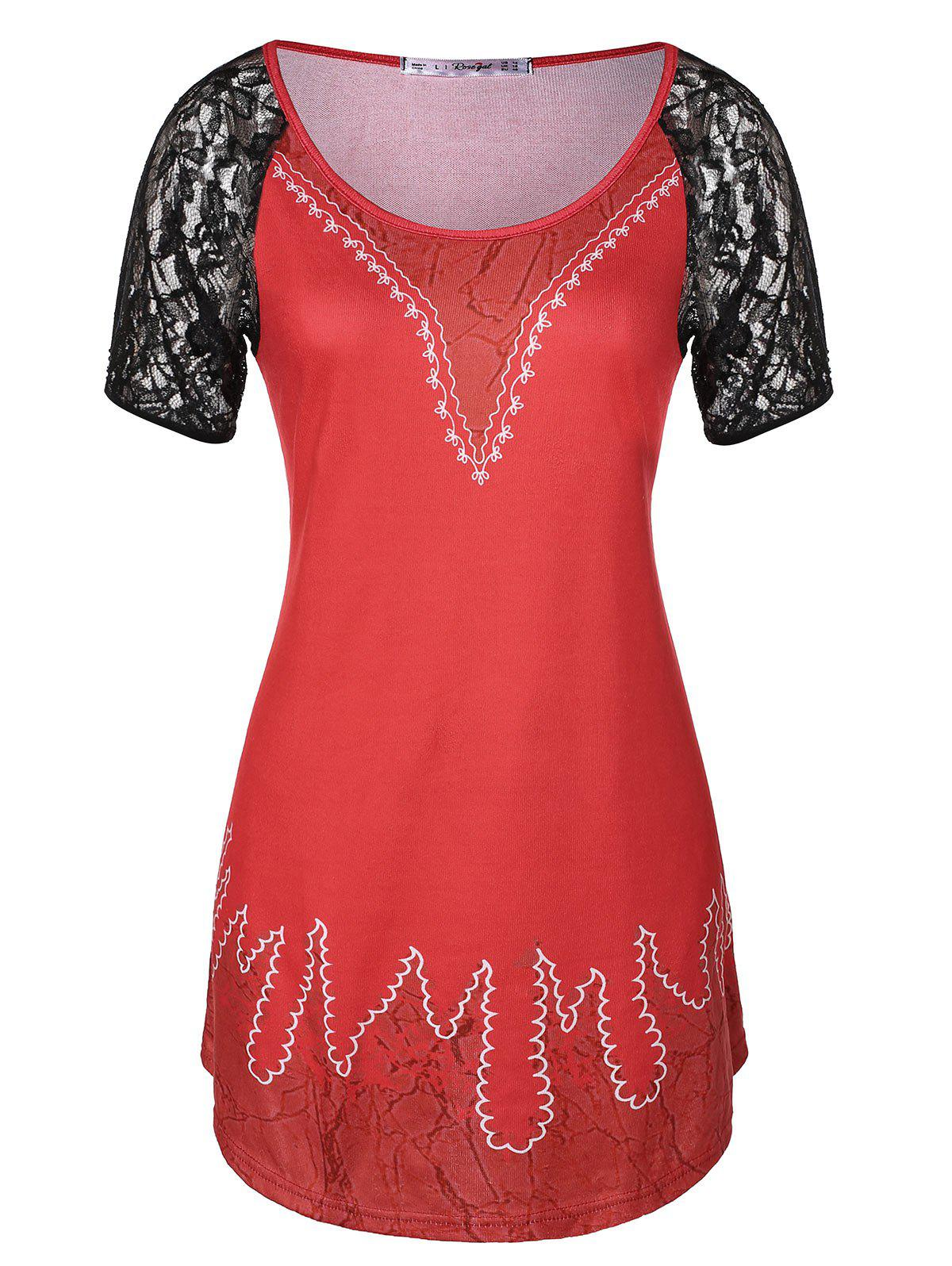 Lace Insert Tunic Plus Size T-shirt