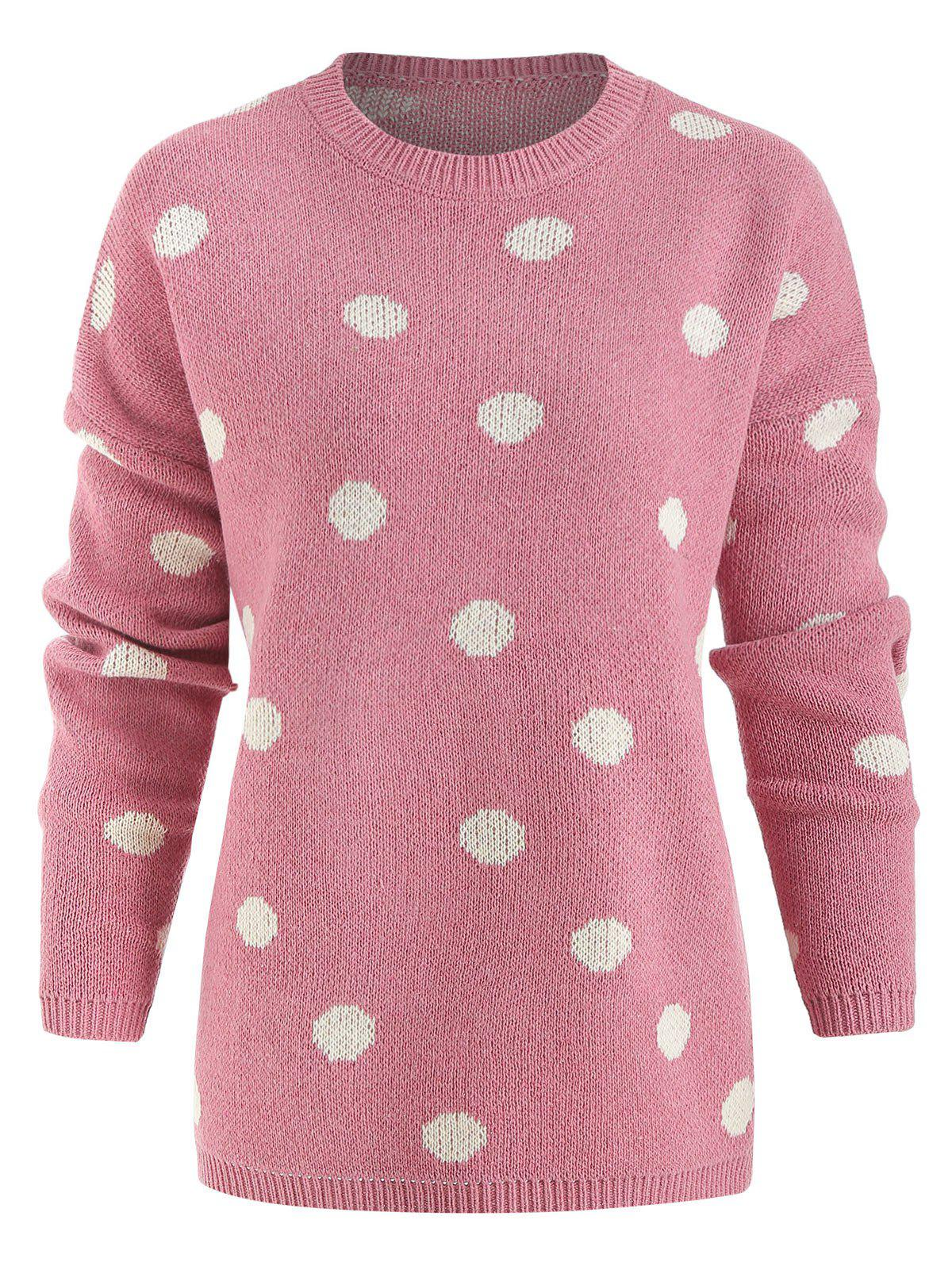 Polka Dot Oversized Pullover Sweater - PINK M