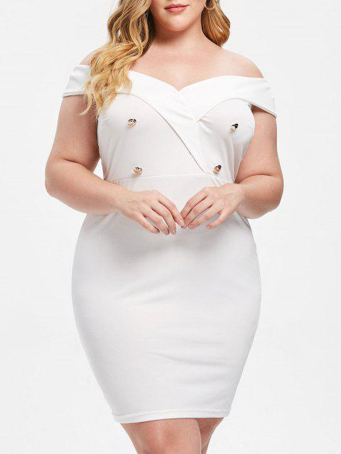 LIMITED OFFER] 2019 Plus Size Double Breasted Bodycon Dress In WHITE ...