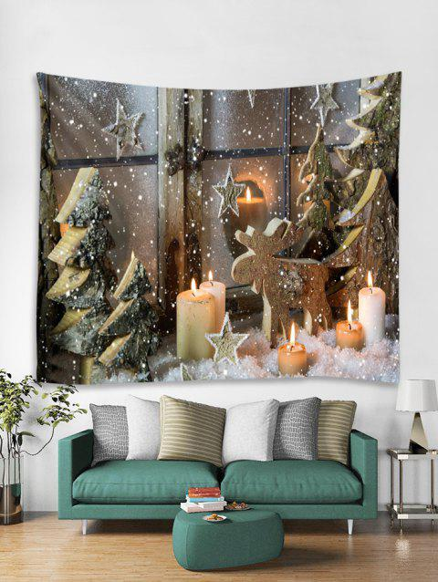 Christmas Tree Candles Print Tapestry Wall Hanging Art Decoration - multicolor W59 X L51 INCH