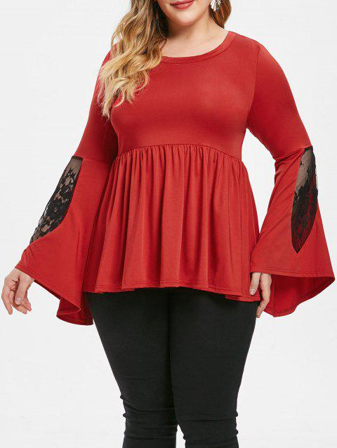 Plus Size Lace Panel Contrast Peplum Tee - RED 5X