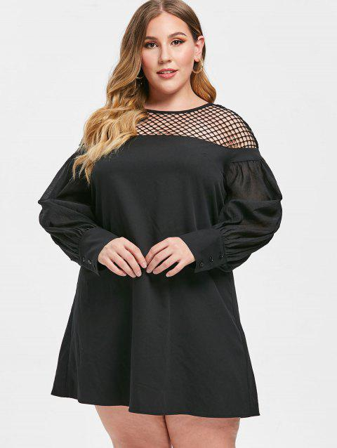 70% OFF] 2019 Plus Size Fishnet Insert Puff Sleeve Dress In BLACK ...