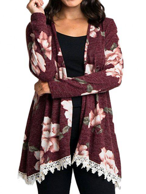 Panel Floral Print Open Front Kimono - RED M