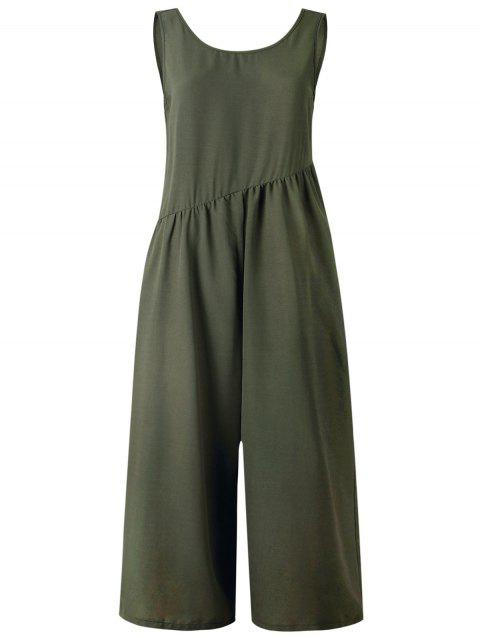 Sleeveless Cut Out Wide Leg Jumpsuit - ARMY GREEN L