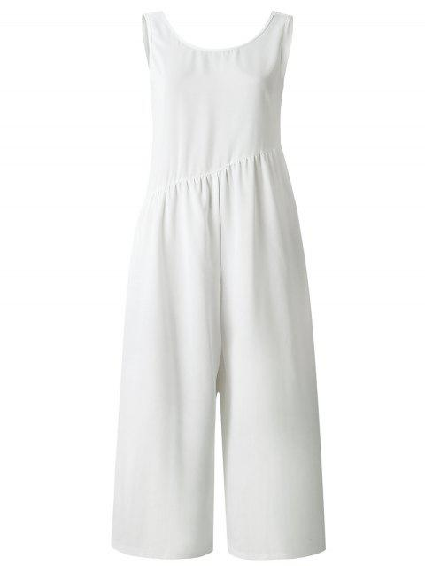 Sleeveless Cut Out Wide Leg Jumpsuit - WHITE XL