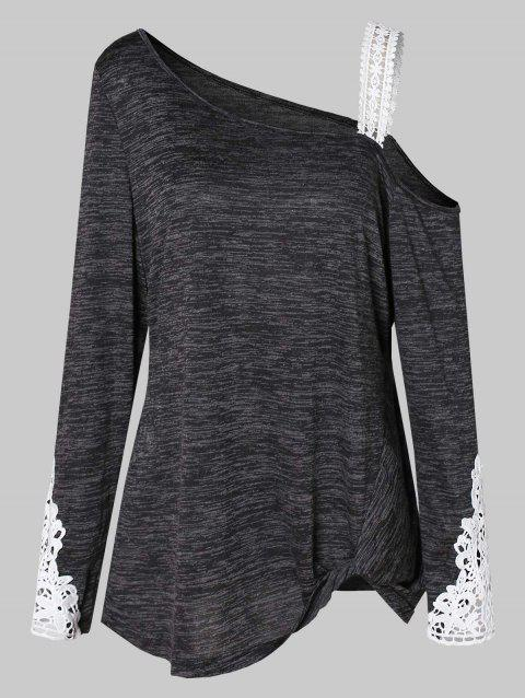ce182391e6604 17% OFF  2019 Plus Size Skew Collar Lace Panel T Shirt In CARBON ...
